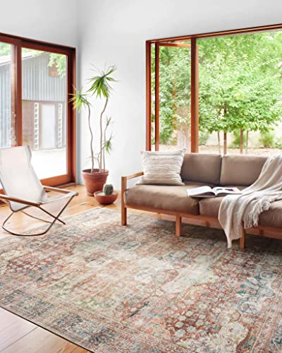 Loloi Loren Collection Vintage Printed Persian Area Rug 1'-6″ x 1'-6″ Square Swatch Brick / Multi