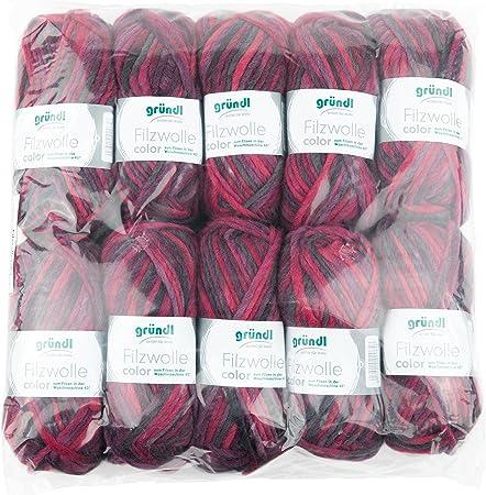 Gründl 2614/42 Lana de Fieltro Color, Ventaja Pack: 10 (Ovillo de 50 g, Lana, Lila-Bordeaux-Anthrazit Multicolor, 31 x 32 x 6 cm: Amazon.es: Hogar