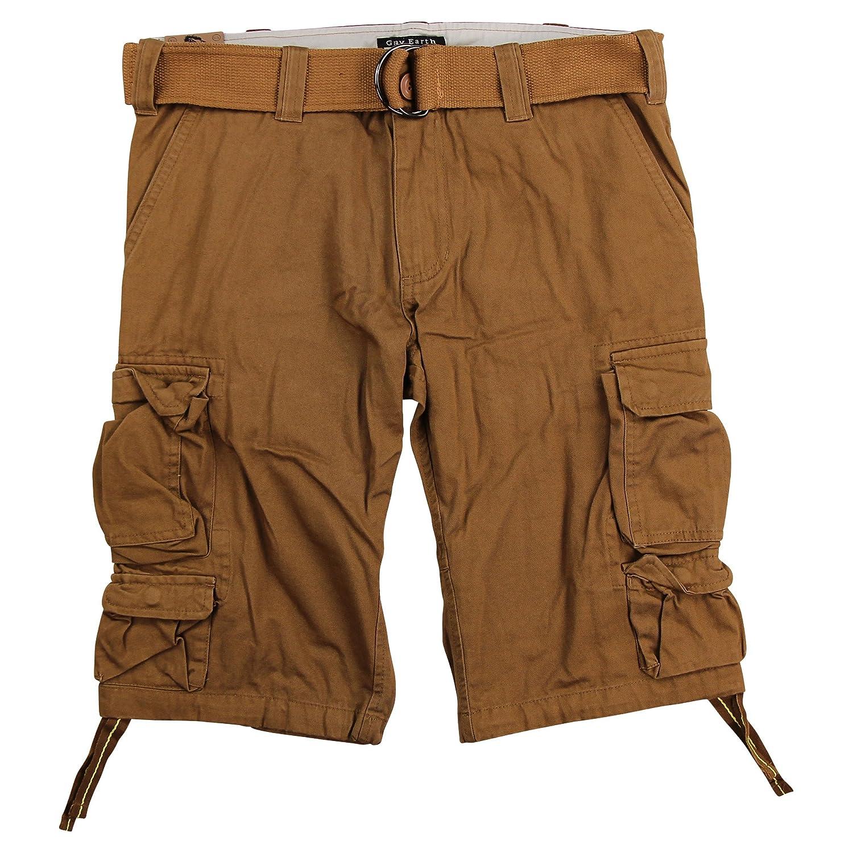 Gray Earth Mens Long Lightweight Cargo Shorts