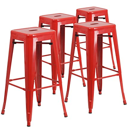 Swell Flash Furniture 4 Pk 30 High Backless Red Metal Indoor Outdoor Barstool With Square Seat Cjindustries Chair Design For Home Cjindustriesco