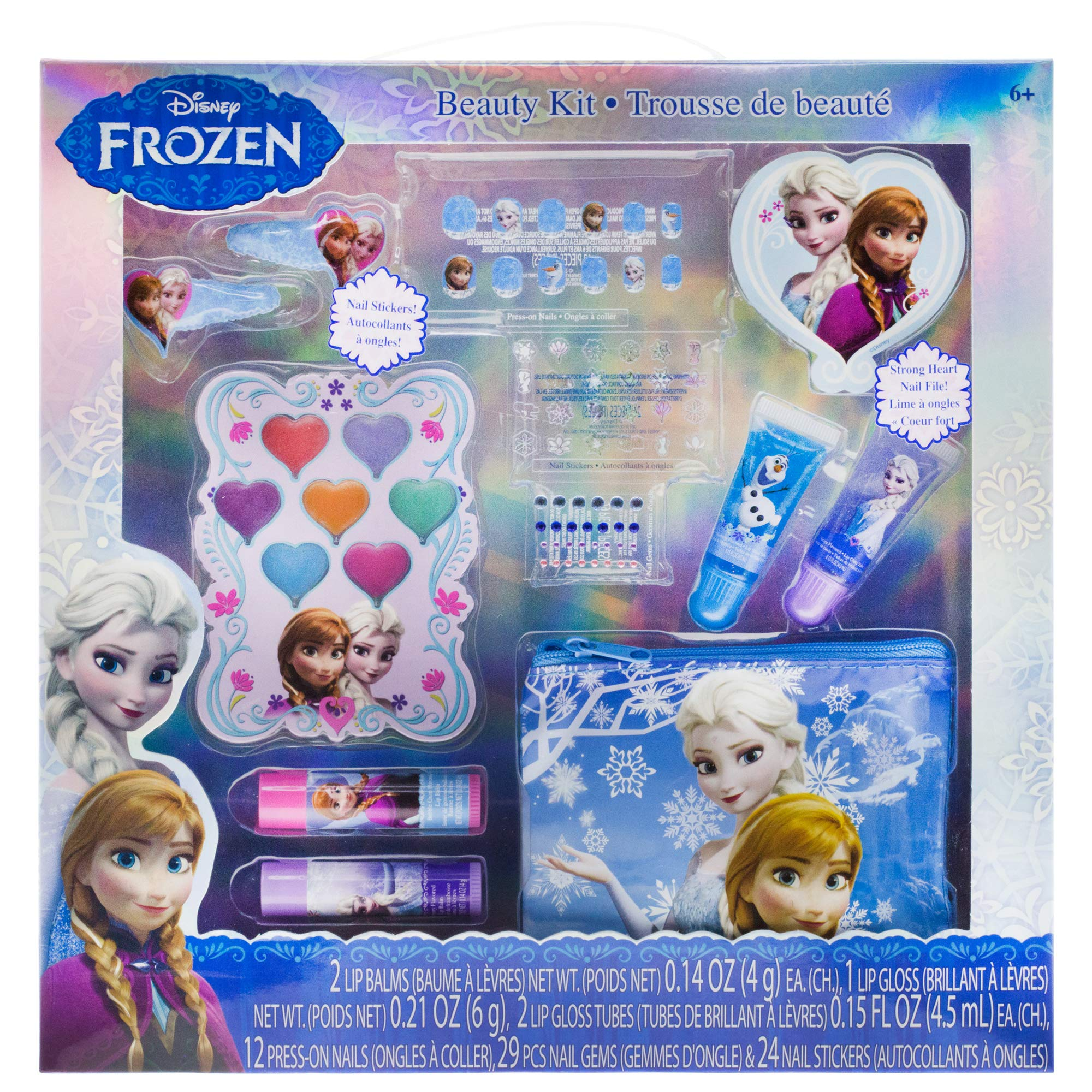 TownleyGirl Disney Frozen Beauty Kit, Lip balms, glosses, Press on Nails, gems, Stickers, Barrettes & More
