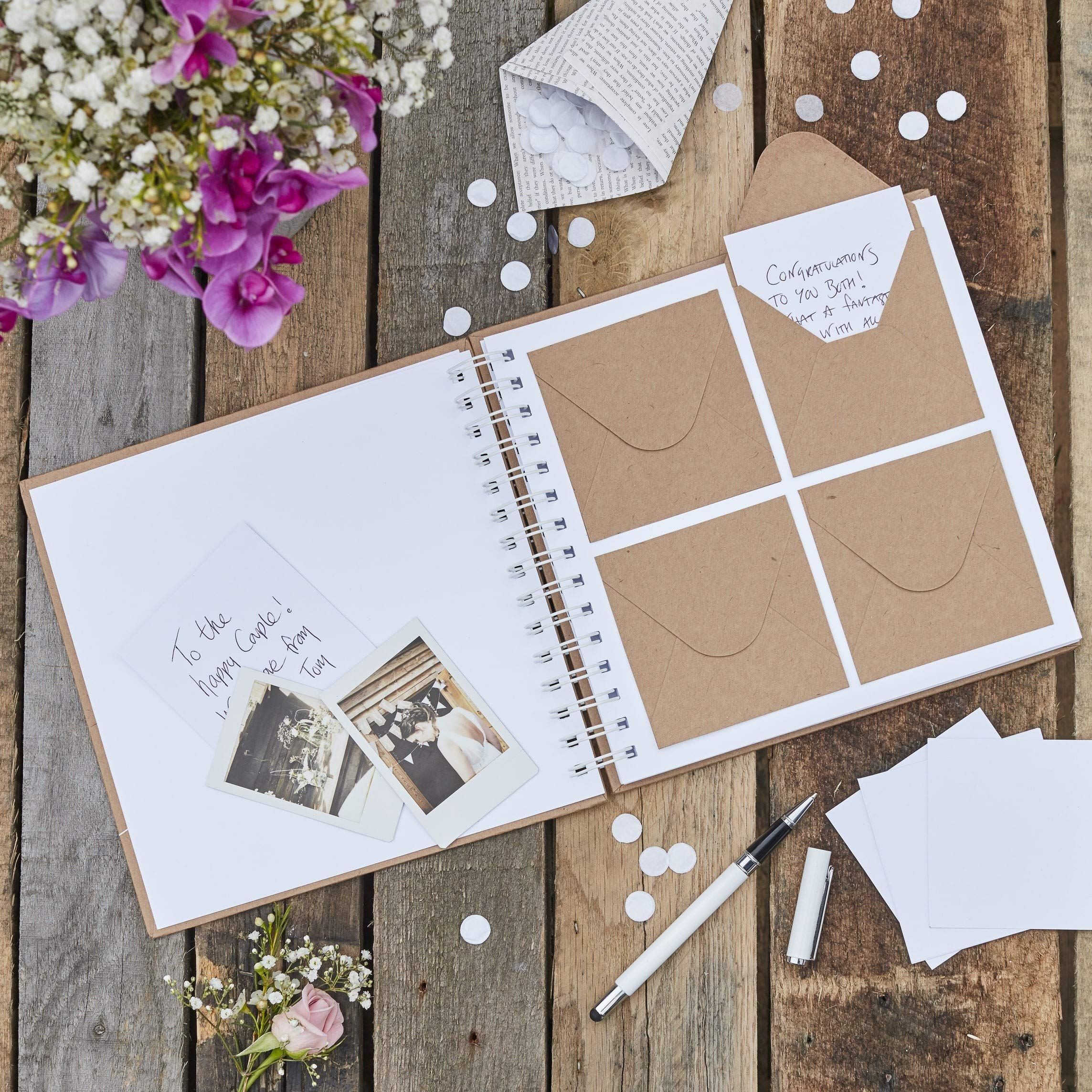 Ginger Ray Wedding Guest Book Ideas for Rustic Wedding Decorations Wedding Supplies 80 Envelopes & Note Cards 8'' x 8.25''