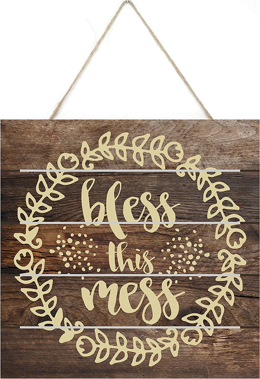 MRC Wood Products Bless This Mess Rustic Wooden Plank Sign 8x8