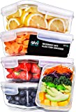 Igluu Glass Meal Prep Containers with Transparent, Steam Vent Lids - Airtight Portion Control Food Storage - BPA Free - Microwavable, Dishwasher and Oven Safe [5 Pack + 1 Spare Lid] - Bonus eBook