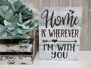 43LenaJon Home is Wherever I'm with You Rustic Wood Sign,Hanging Wood Wall Sign Decor for Garden,Personalized Wooden Farmhouse Welcome Label