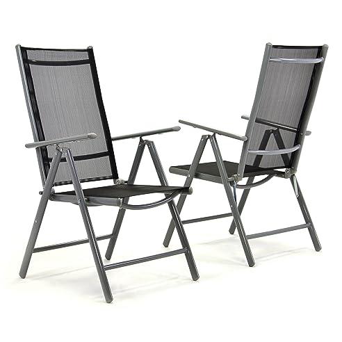 Gartenstühle alu schwarz  2er Set Klappstuhl Aluminium Komfortbreite Gartenstuhl ...
