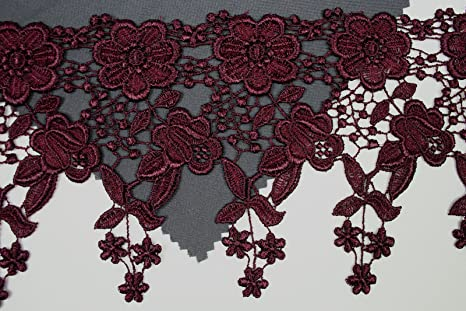 """3/"""" Eggplant Embroidered Venice Lace Trim Floral Colored Guipure Trimming By Yard"""