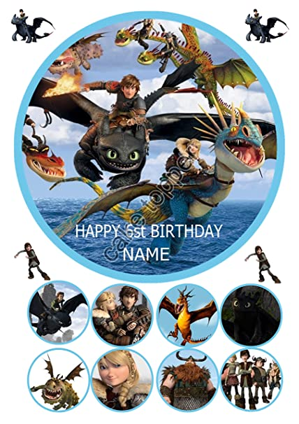 How to train your dragon round 75 icing sheet cake topper with how to train your dragon round 75 icing sheet cake topper with extra cupcake toppers ccuart Gallery