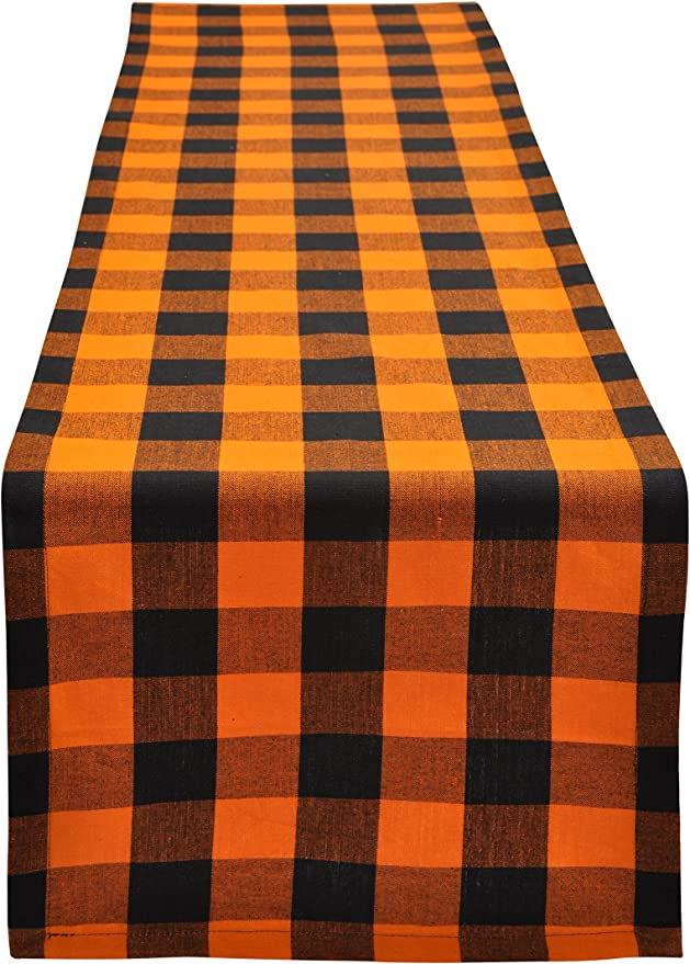 Yourtablecloth Buffalo Plaid Checkered Table Runner Trendy & Modern Plaid Design 100% Cotton Tablerunner Elegant Décor for Indoor&Outdoor Events 14 x 108 Orange and Black