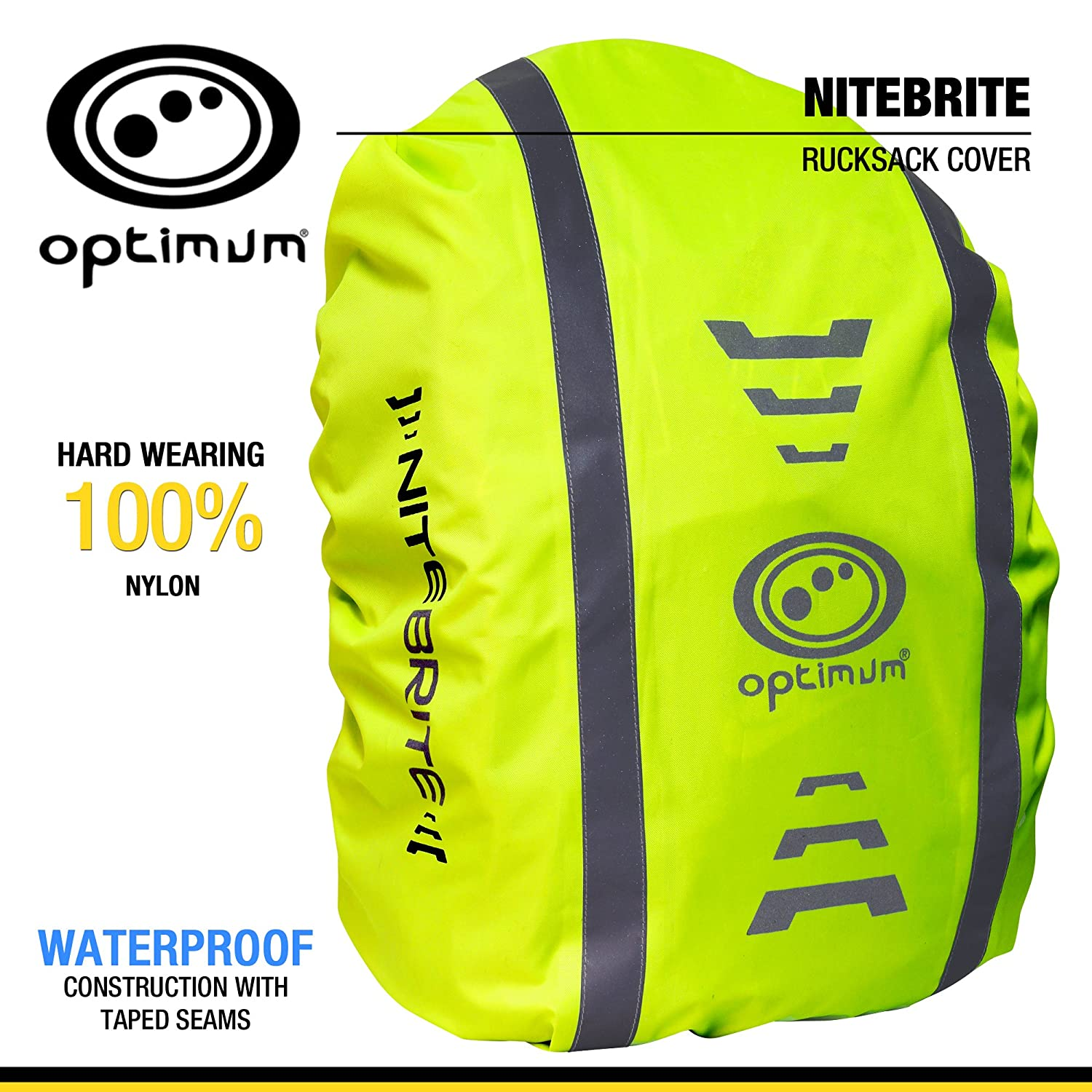Optimum Nitebrite Cycling Rucksack Cover, Fluro Green, One Size CNBBC