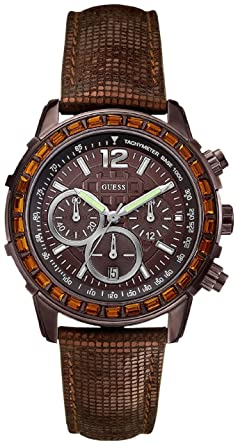 Guess Watch, Womens Chronograph Bronze Tone Textured Leather Strap U0017L4