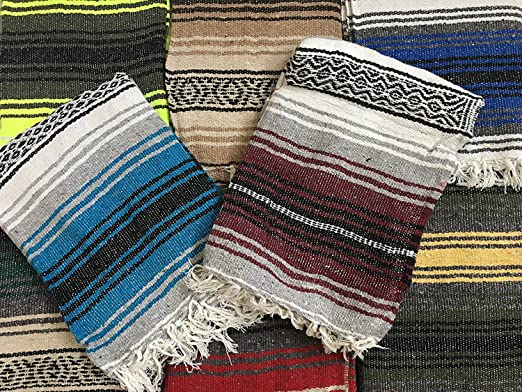 MEXIMART Yoga Blanket Hand Woven Authentic Mexican Falsa in Assorted Random Color (6X4)
