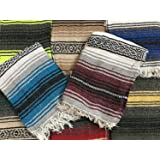Yoga Blanket Hand Woven Authentic Mexican Falsa in Assorted Random Color (6'X4') by MEXIMART's