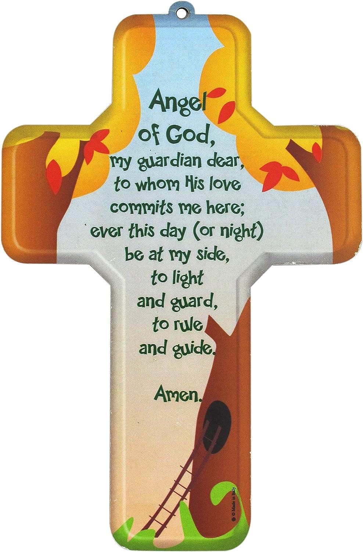 12 x 18 cm Ferrari /& Arrighetti Crocifisso per Bambini con la Preghiera dellAngelo di Dio in Inglese