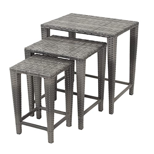 Mayall Patio Furniture 3 Piece Grey Nested Outdoor Wicker Side Table Set