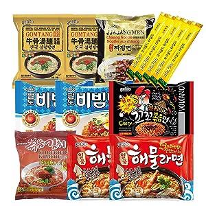 The Elixir Curated K-Foods Korean Hit Noodle Ramen Variety Pack with Instant Coffee Mix Pack, Bibimmen, Jjajangmen, Gomtang, Volcano Chicken, Stirfried Kimchi, Seafood Ramen Box
