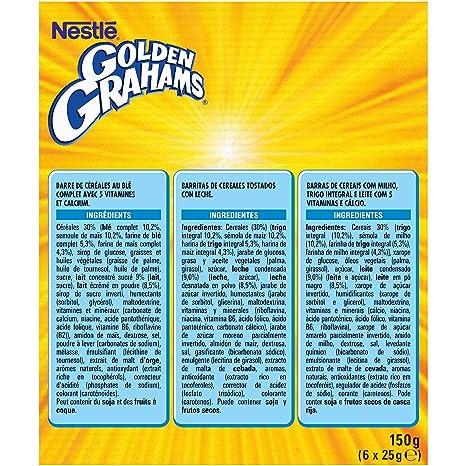 Nestlé Golden Graham - Barritas de Cereales con Maíz y Trigo Tostado - 6 barritas de cereales (6x25g)