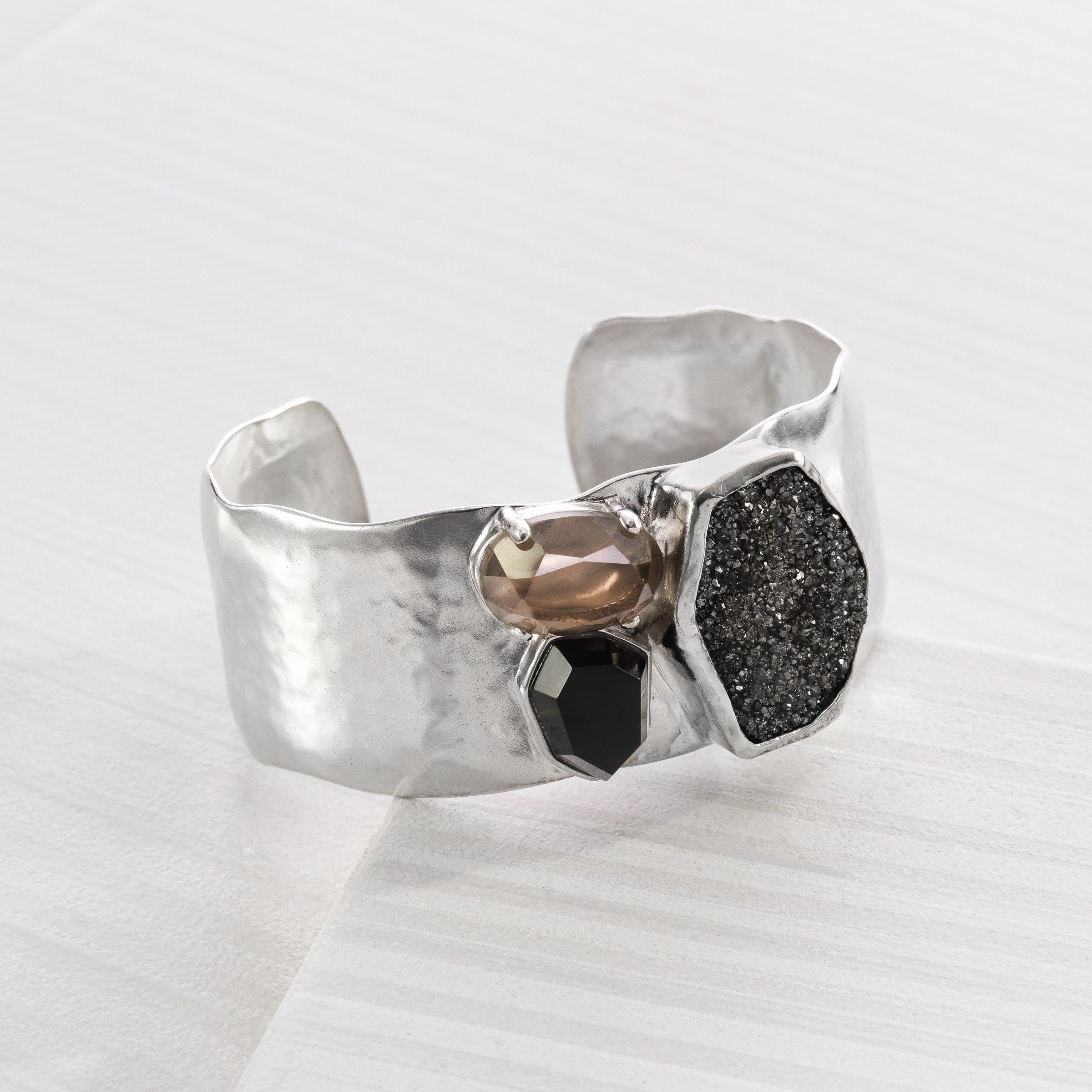Silpada 'Crystal Cave' Sterling Silver, Agate, Crystal, Druzy, and Quartz Cuff 6.75'' by Silpada (Image #2)