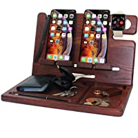 BarvA Wood Docking Station Tray Two Cell Phone Smartwatch Holder Men Charging Accessory Nightstand Father Mobile Gadget…
