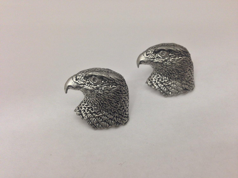B32 Hawks Head Fine English Pewter Cufflinks Handmade In Sheffield