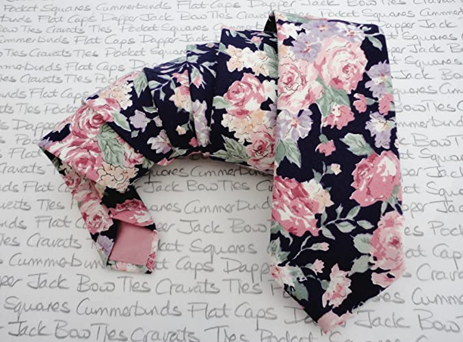 d388f569aa7d Floral tie, ties for men, pink roses on a navy background cotton tie ...
