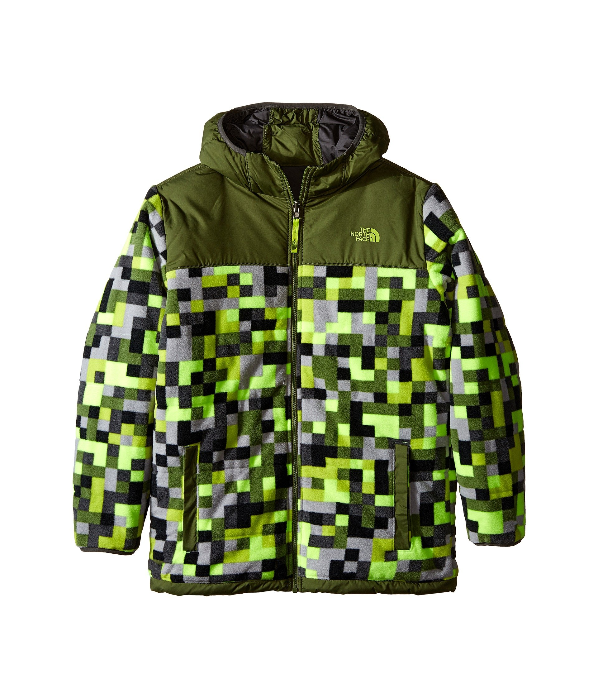 The North Face Reversible True Or False Jacket Boys' Safety Green Pixel Print Large by The North Face