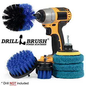 Drillbrush - Drill Brush Power Scrubber - Shower Scrub Brush - Cordless Tile Cleaner - Scrubber Cleaning Kit - Scrub Driver - Bathroom Cleaner Pads - Porcelain Sink Cleaner - Bathtub Stain Cleaner