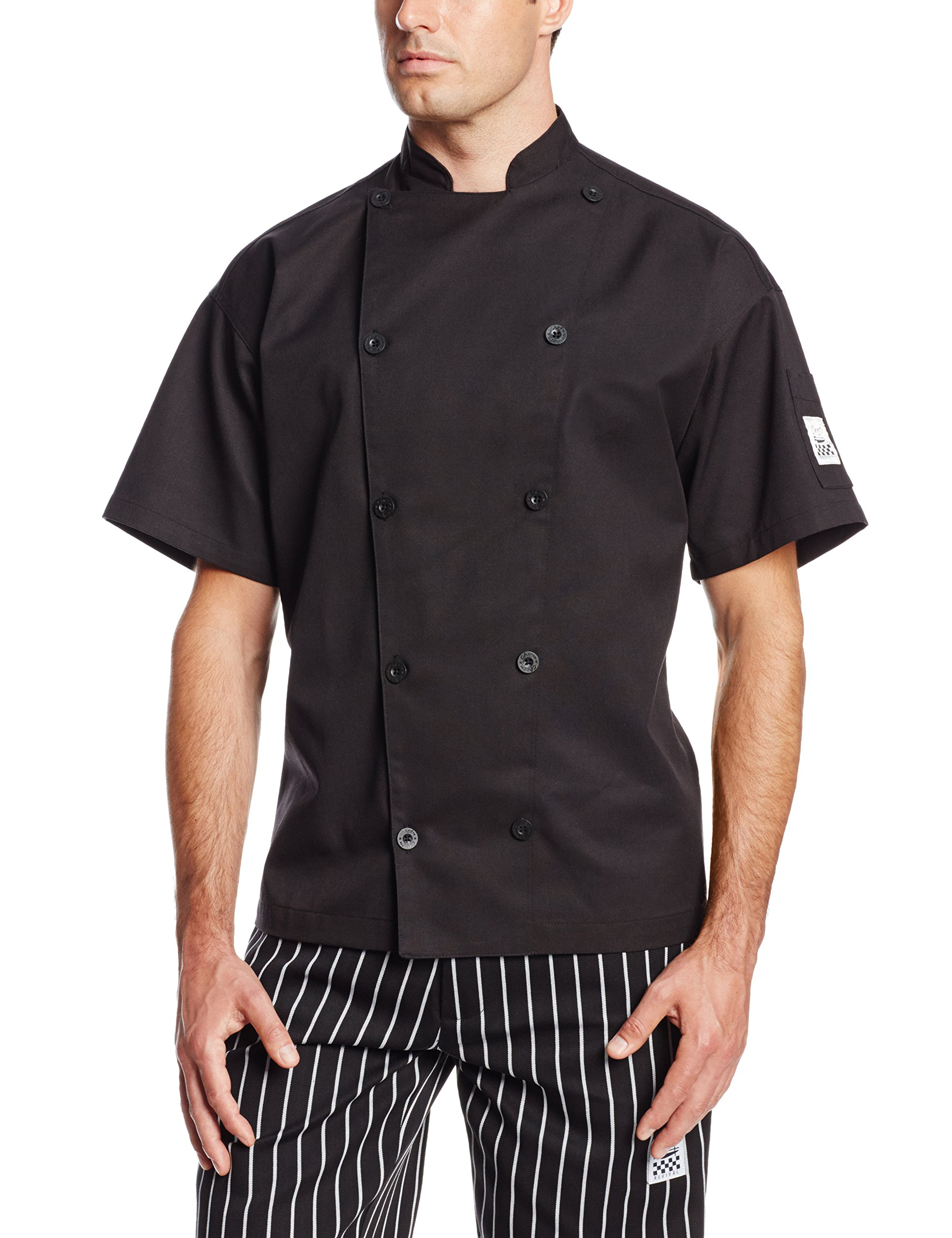 Chef Revival J045BK Chef-Tex Poly Cotton Traditional Short Sleeve Chef Jacket with Chef Logo Button, 5X-Large, Black