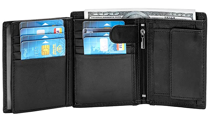 e90d08d1b31e Large RFID Blocking Trifold Leather Wallet for Men with 3 ID Windows and  Zipper Coin Pockets