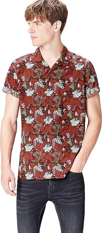find. Camisa de Manga Corta y Corte Estándar con Estampado Tropical Hombre