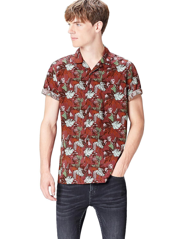 9616e83148f1 Men's Regular Fit Short Sleeve Tropical Print Shirt: Amazon.co.uk: Clothing