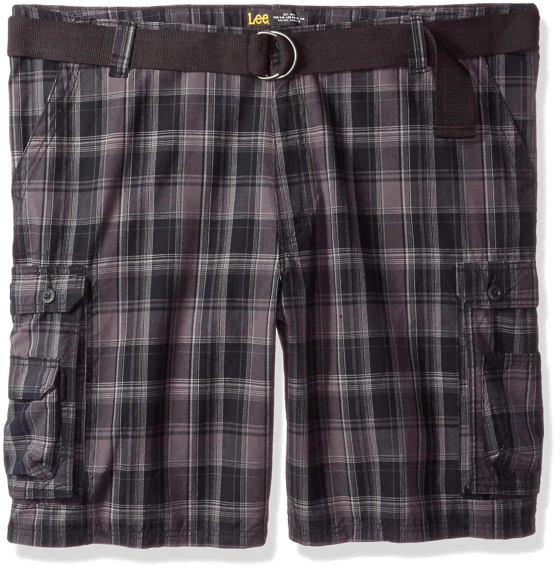 LEE Men's Big and Tall New Belted Wyoming Cargo Short, Black Clifton Plaid, 52