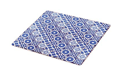 Amazoncom Lunarable Patchwork Cutting Board Azulejo Tile Motifs - Ceramic tile cutting boards