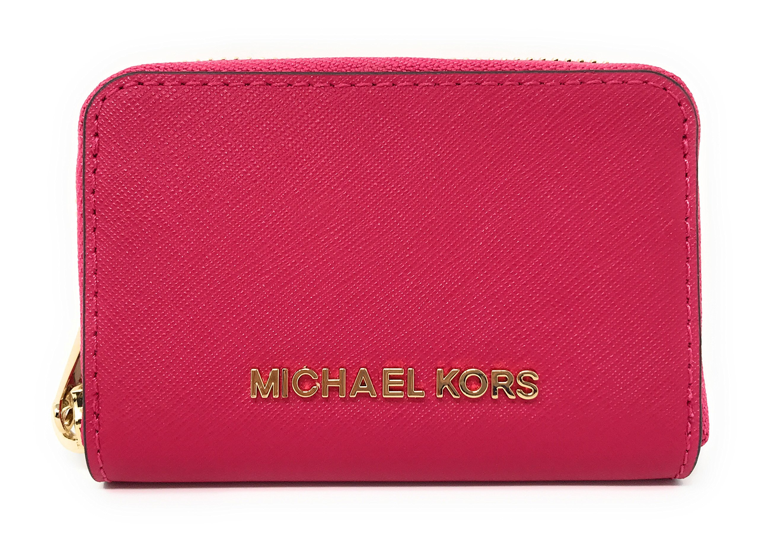 da17be269709f6 Michael Kors Jet Set Travel Credit Card Coin Case Zip Around Wallet Purse