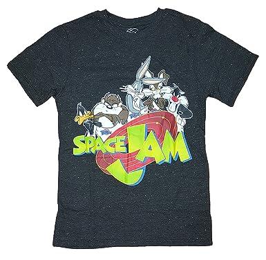 ec694e79e1a355 Amazon.com  Looney Tunes Space Jam Black Confetti Graphic T-Shirt ...