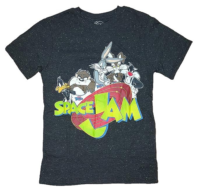 ab2eec1c22a2ec Amazon.com  Looney Tunes Space Jam Black Confetti Graphic T-Shirt  Clothing