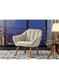 Accent Chair For Living Room, Linen Arm Chair With Tufted Detailing And  Natural Wooden Legs