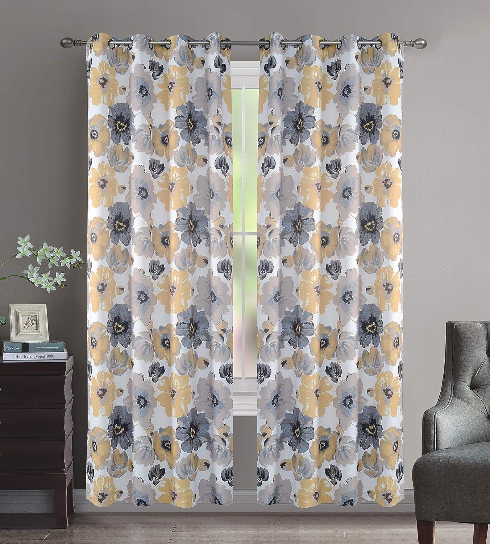 "Crystal Home Decor 2PC Room Darkening Window Curtain, Set of 2, 8 Bronze Grommets Per Panel, Floral Design (Yellow/Grey, 52"" X 108"")"