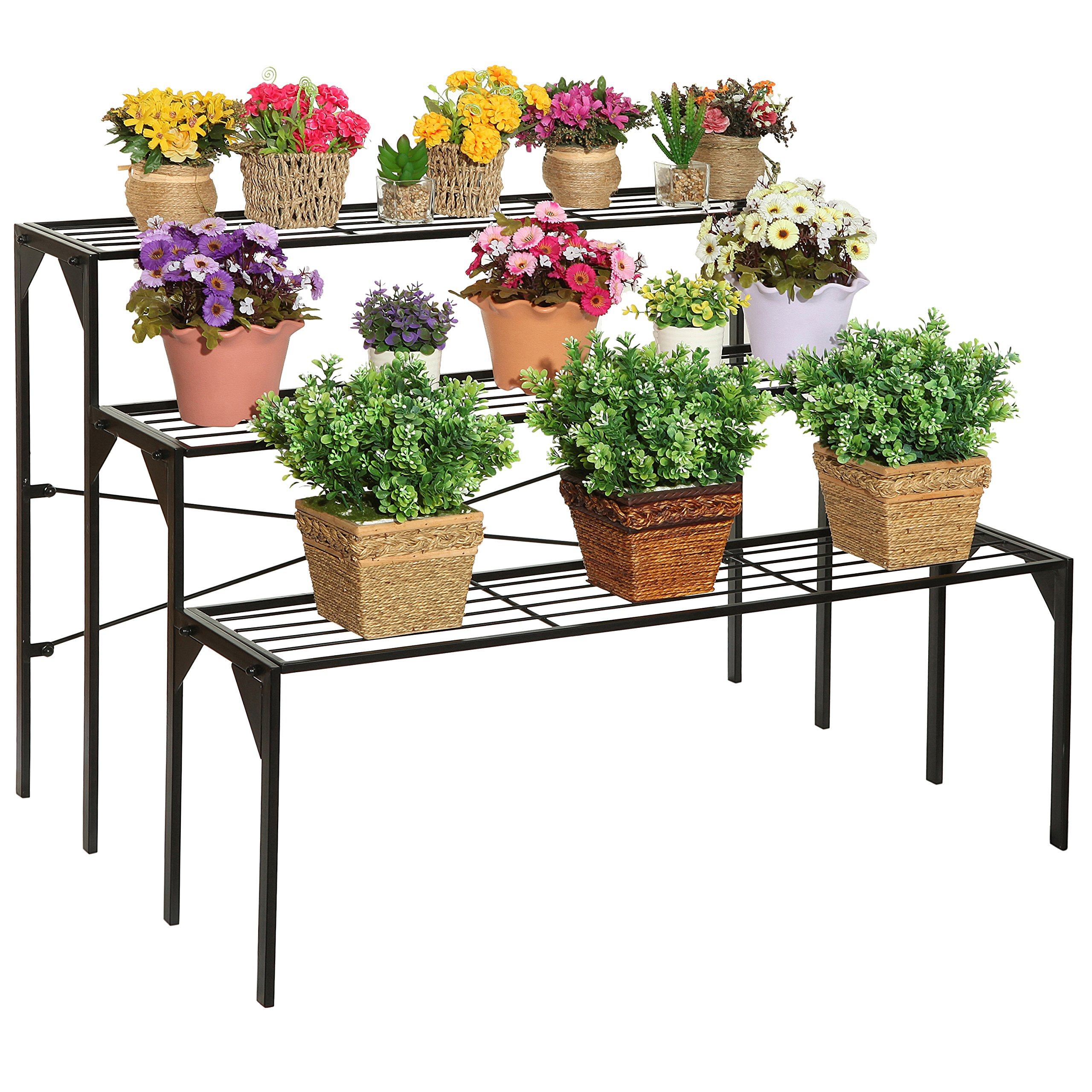 Large Modern Black Metal 3 Tier Shelf Flower Plant Display Stand Rack / Freestanding Home Decor Shelves by MyGift