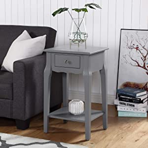 Roundhill Furniture Buren Wood End Table with Drawer, Gray