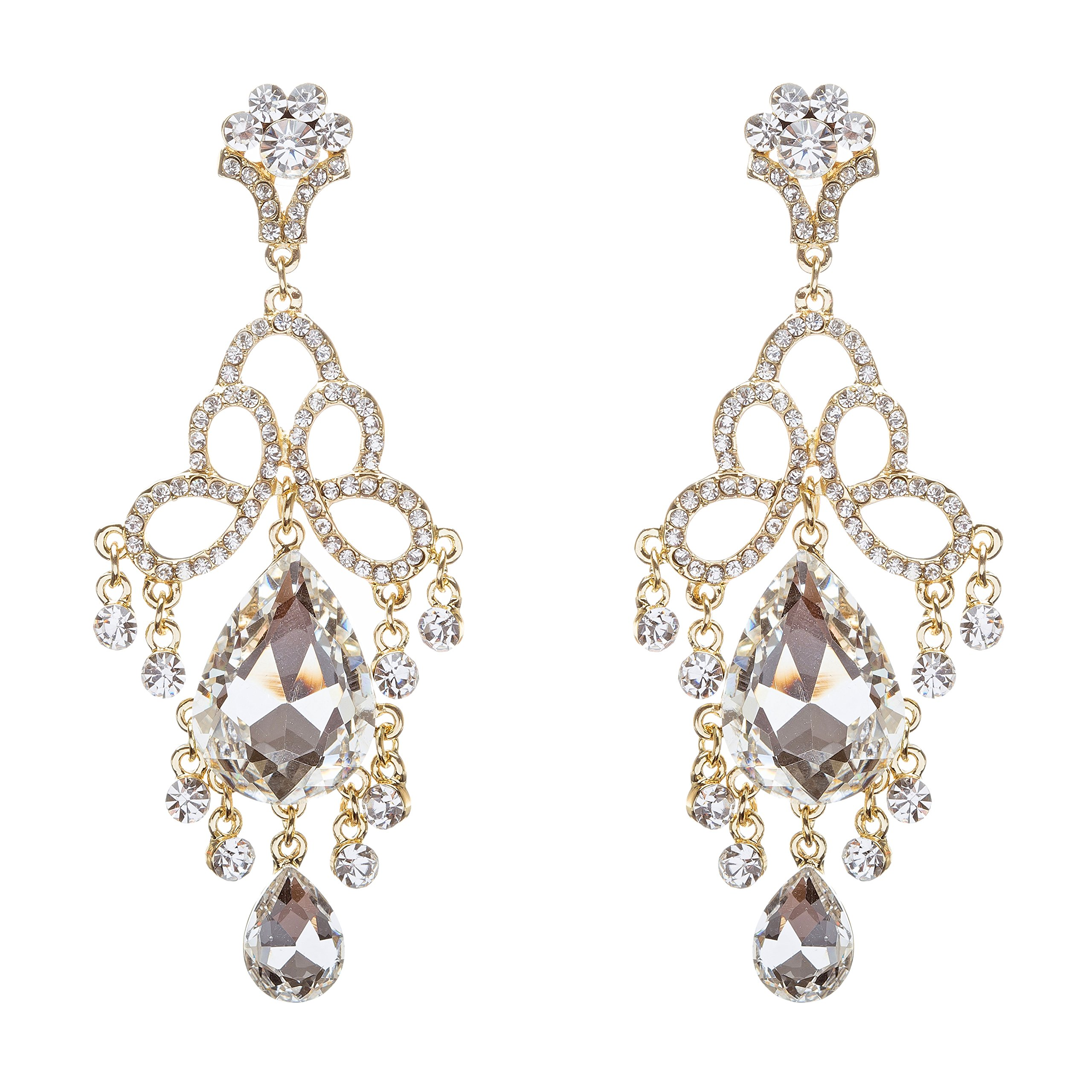 ACCESSORIESFOREVER Women Bridal Wedding Jewelry Crystal Rhinestone Brilliant Loops Design Earrings Gold