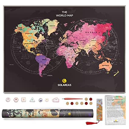 Large World Map Amazon.Amazon Com Scratch Off World Map Poster With Us States Perfect