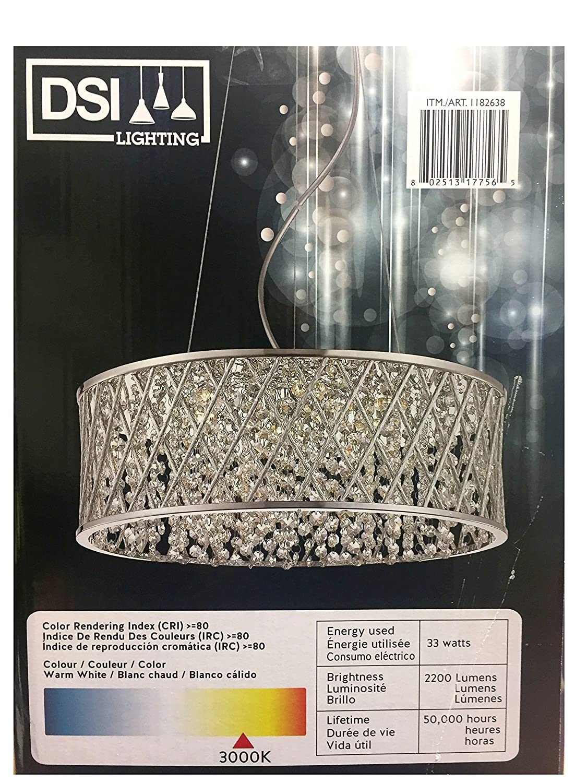Dsi 6 led light adjustable pendant light fixture chrome and silver