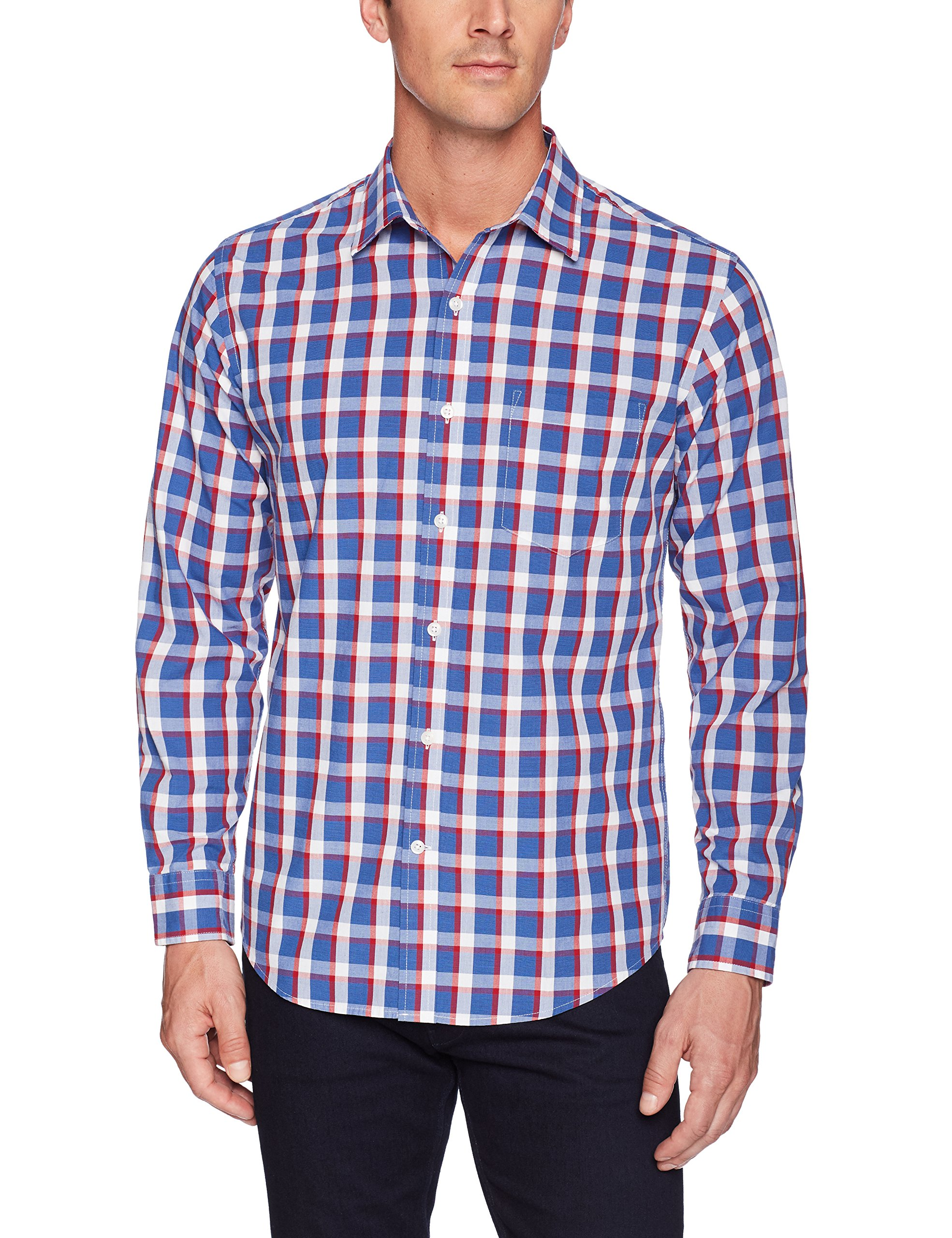 Amazon Essentials Men's Regular-Fit Long-Sleeve Plaid Shirt, blue/red plaid, Large by Amazon Essentials (Image #3)