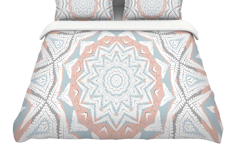 KESS InHouse Alison Coxon Plant House Mandala Coral Blue Twin Comforter 68 X 88