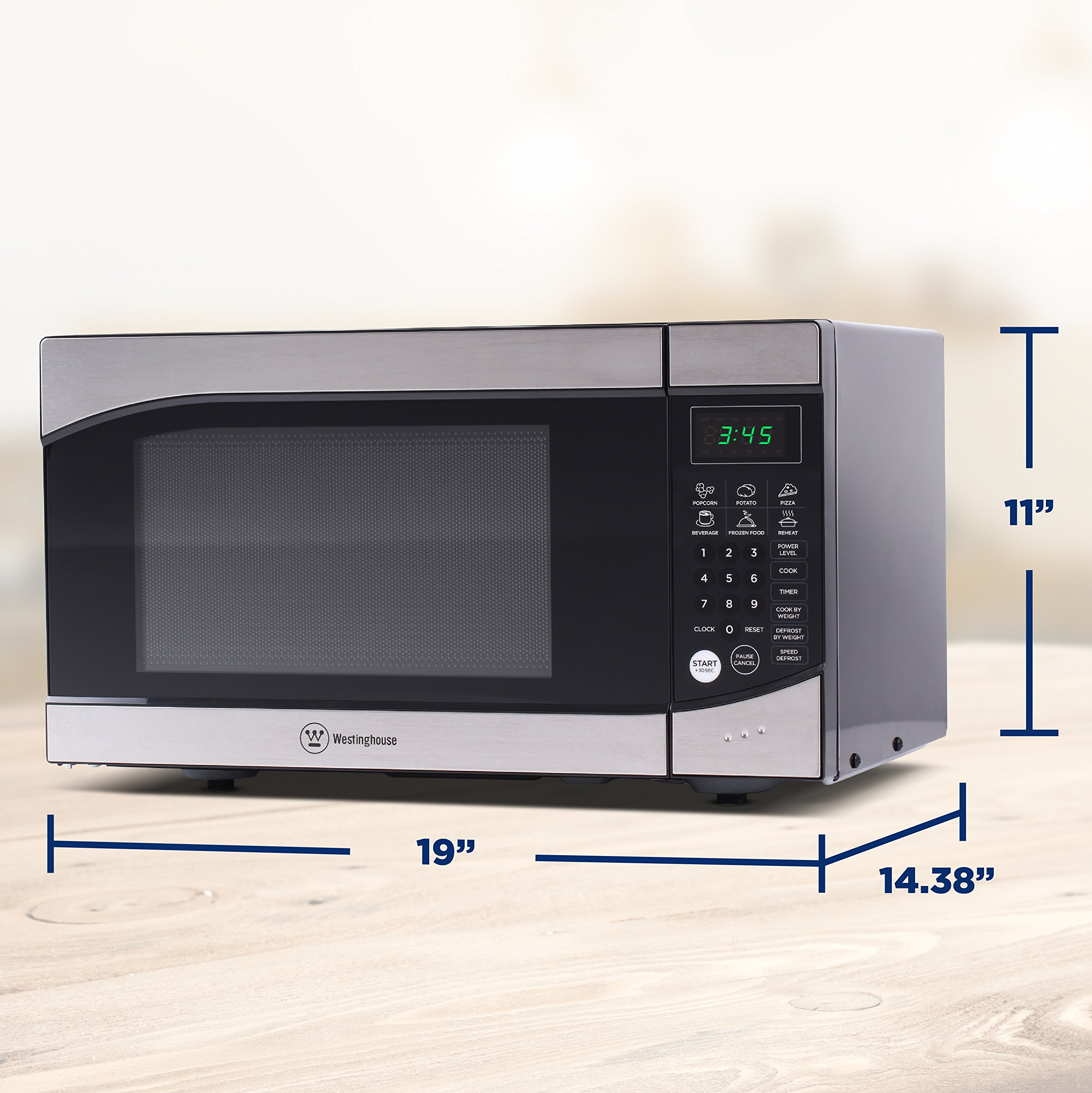 Westinghouse, WM009, Countertop Microwave Oven, 900 Watt, 0.9 Cubic Feet, Stainless Steel Front, Black Cabinet, Small by Westinghouse (Image #6)
