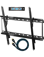"Cheetah APTMM2B TV Wall Mount for 20-70"" TVs up to VESA 600 and 165lbs, and fits 16"" And 24"" Wall Studs, and includes a Tilt TV Bracket, a 10' Twisted Veins HDMI Cable and a 6"" 3-Axis Magnetic Bubble Level"