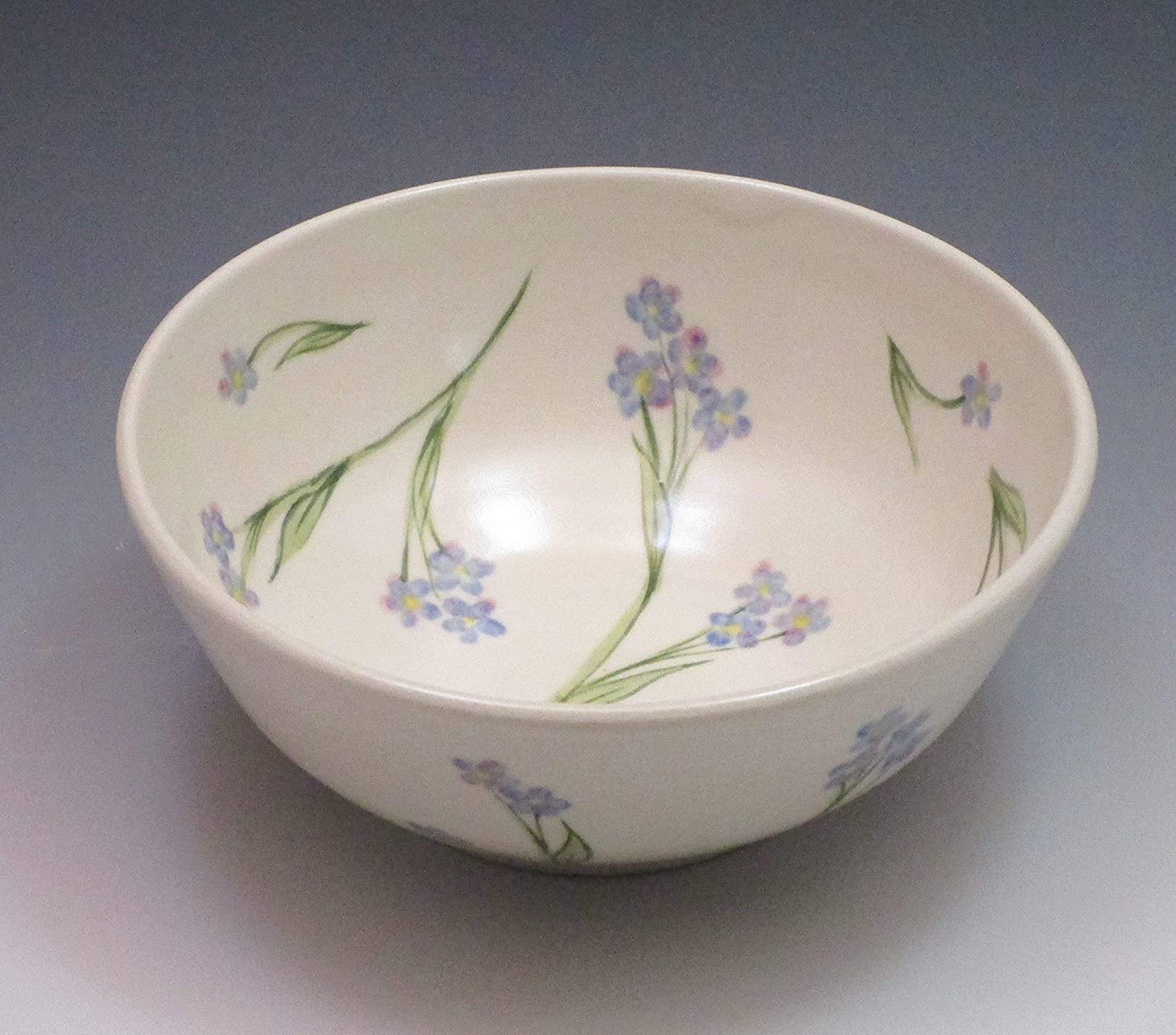 Porcelain cereal or soup bowl, hand thrown and hand painted in forget-me-not design