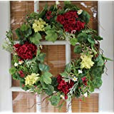 belmont silk decorative front door wreath 22 inch year round outdoor wreath with hanging loop