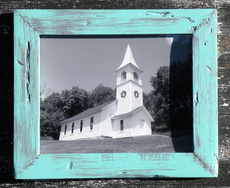 f4c6370e926 Amazon.com  Iowa Church Photo in Rustic Mint Green Wood Frame